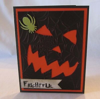 Handmade HALLOWEEN CARD Cutout Pumpkin Face Blank Inside U Choose How Many