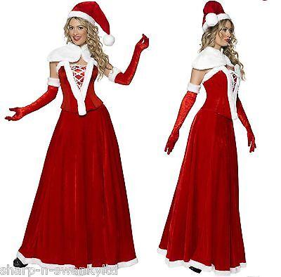 Ladies 5 Pc Long Luxury Santa Christmas Corset Fancy Dress Outfit Costume - Luxury Fancy Dress Costumes
