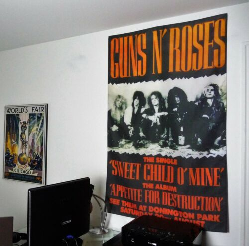 GUNS N ROSES vintage fabric tour poster HUGE 3x5 tapestry banner album cd flag