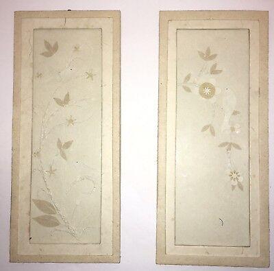 Set Of 2 Vintage Chinese Jianzhi Paper Art Framed Bird Flowers A3