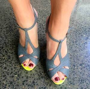 Joan & David Grey Leather Sandals with Neon Accent - size 38 Rozelle Leichhardt Area Preview