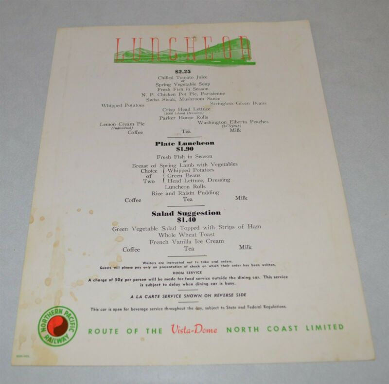 1957 Northern Pacific Railroad Dining Car Menu Vista Dome Luncheon