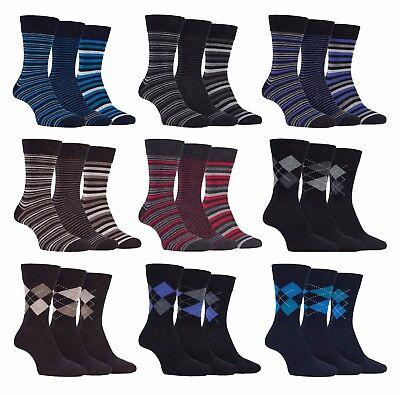Soft Cotton Argyle Socks - Farah - 3 Pack Mens Breathable Soft Top Argyle Striped Cotton Rich Dress Socks