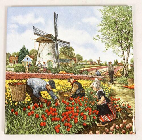 Dutch Tile Ter Steege Holland Decorative Trivet PICKING TULIPS Scene 6 x 6