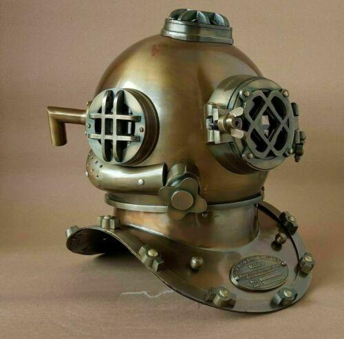 Antique Scuba Vintage Morse Diving Helmet Brass Boston Marine Divers Deep Diver