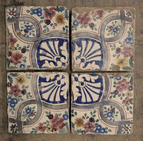Italian Antique Tile Set = 4 Cretella, Naples Italy