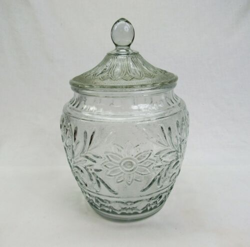 Anchor Hocking vintage Cookie Jar Sandwich glass crystal clear biscuit canister