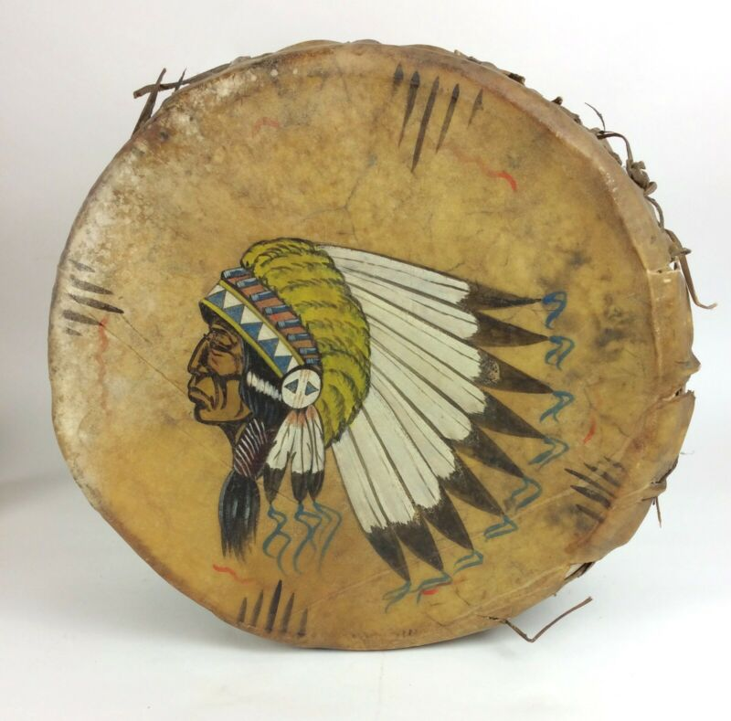 Antique vintage Indian Chief rawhide bark drum