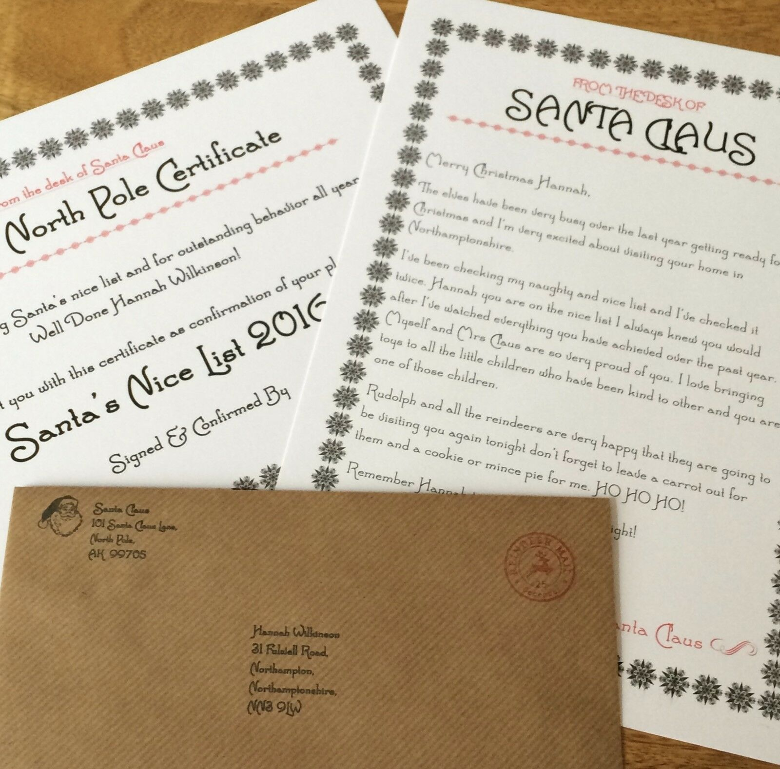 Personalised Vintage Christmas Letter From Santa  Nice List