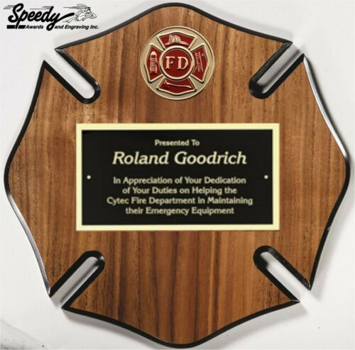 MALTESE CROSS FIRE DEPARTMENT WOOD PLAQUE AWARD 10X10 FREE ENGRAVING FAST SHIP