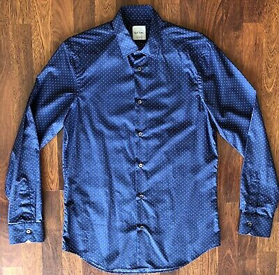 PAUL SMITH SLIM FIT COTTON DRESS SHIRT BLUE MENS SIZE MEDIUM MADE IN ITALY NEW
