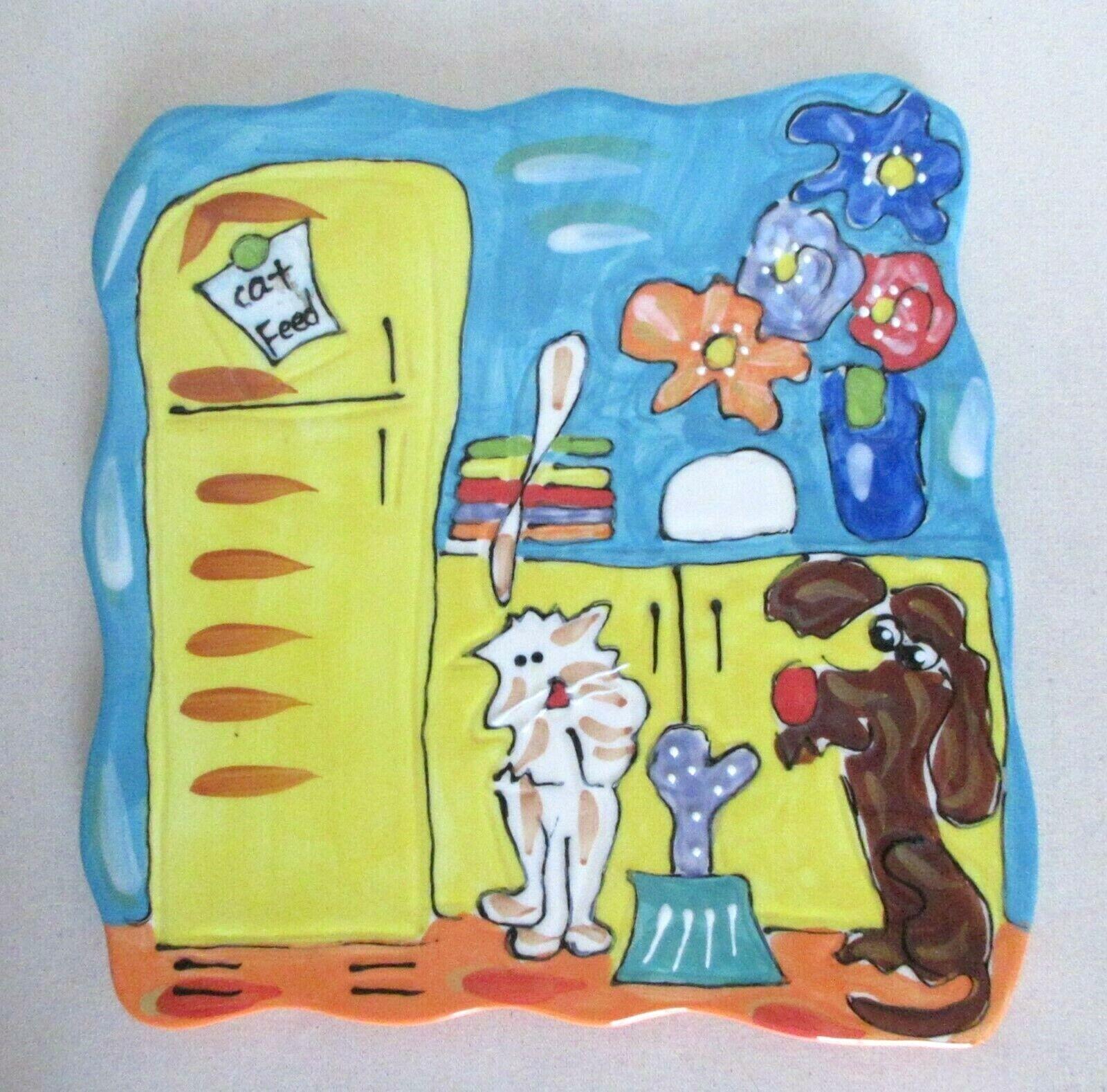 Coyne s 2002 Debby Carman Minch Patrol Trivet Wall Hanging Cats Dogs - $13.99