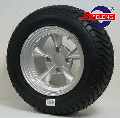 """GOLF CART 12"""" SILVER GODFATHER WHEELS and 215/50-12 COMFORT RIDE DOT TIRES (4)"""