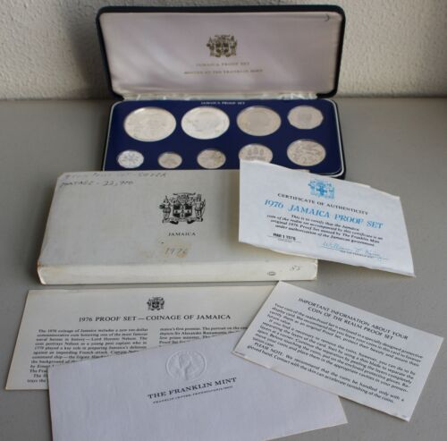 1976 Jamaica 9 Coin Proof Set 2 Silver Coins With Original Box Sleeve Paperwork