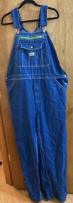 Vintage Overalls & Jumpsuits Men's Liberty Overalls Blue Cargo Denim Jean Bib Trimmed Overalls - Size 40x32 $29.95 AT vintagedancer.com