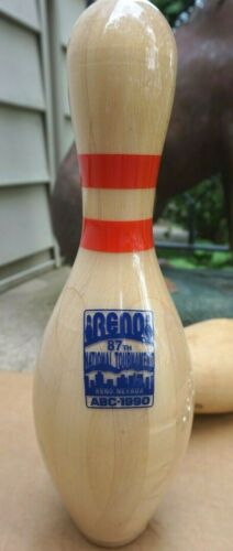 "AMF 15"" Wooden BOWLING PIN - RENO NV 87th National Tournament 1990 Full size"