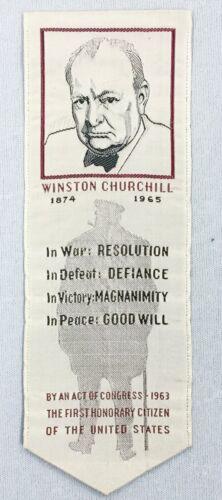 Rare Prime Minister Winston Churchill Commemorative Silk Ribbon Britain WWII