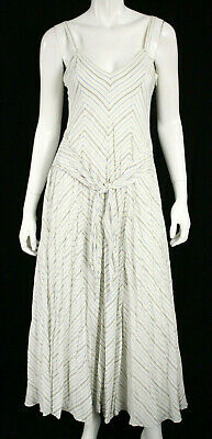 GABRIELA HEARST White & Blue Striped Silk Crepe Tie Waist Maxi Dress 42