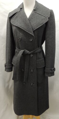 Vintage Neiman Marcus Gray Double Breasted Belted Long Wool Trench Coat Small
