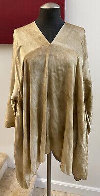 NWOT $985 UMA WANG 100% Silk Taci Top Tan Draped Tunic, Size Large