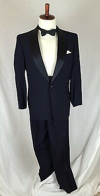 VINTAGE Blue On Black Tuxedo-Bow Tie-Cummerbund-Amalgamated Clothing 60's (Black Tie Tuxedo Kostüme)