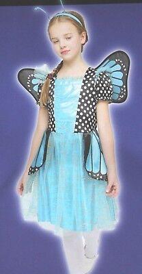 GIRLS MED BLUE MONARCH BUTTERFLY HALLOWEEN COSTUME DRESS - Butterfly Costume For Girls