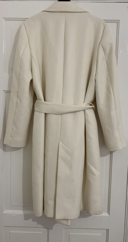 ZARA SS2020 OYSTER WHITE BELTED COAT SIZE L REF. 2607/728 BNWT