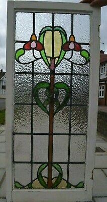 506 x 1114mm leaded light stained glass window sash. R933b. NATIONWIDE DELIVERY