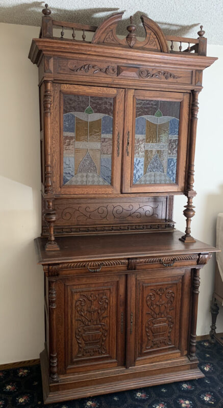 Antique French Renaissance Oak & Stained Glass Server Sideboard Cabinet C1900
