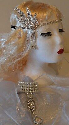 1920's Great Gatsby Silver Head Flapper Set + Pearl Daisy Ring Bracelet Weddings ()