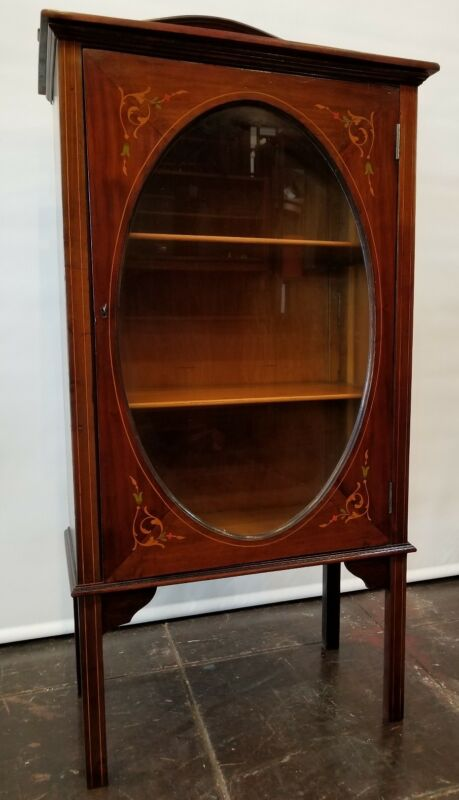 Art Nouveau  Edwardian Bookcase curio / Satinwood Inlay