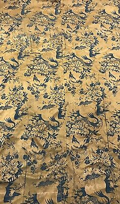 An Antique Silk Damask Brocaded Textile Tapestry Panel 17-18th Century