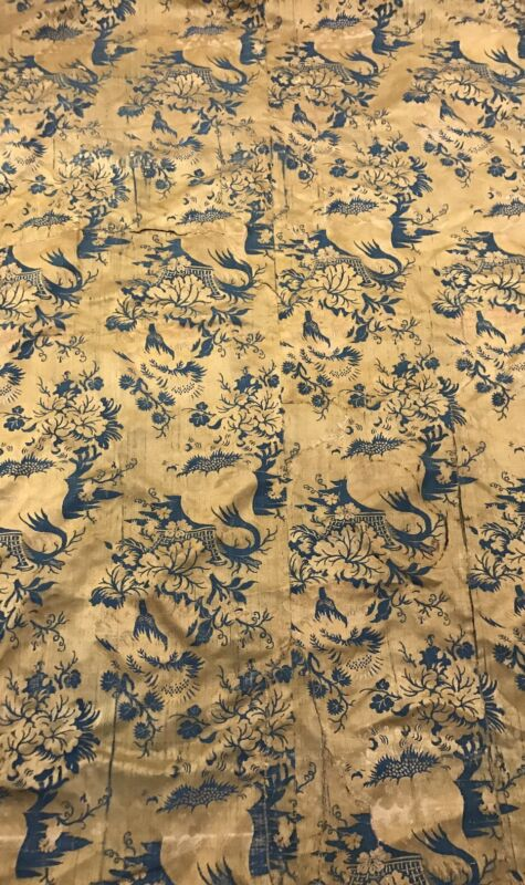 An Antique Silk Damask Brocaded Textile Tapestry Panel