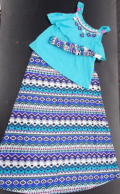 Girls Pogo Club Of Ny Size 7 8 10 12   14 16 Multi Color Top Skirt   Headband