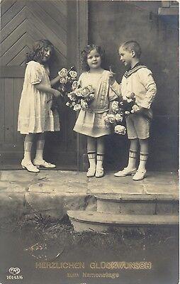 Namenstag, Kinder mit Blumen, Foto-AK, 1914