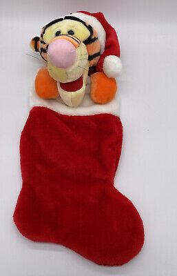"Tigger Pooh Disney Christmas Stocking Stuffed Head Plush 3D 20"" Santa Hat"