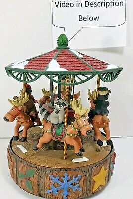 Mr Christmas North Lodge Merry Go Round 15 holiday song piano musical carousel  ()