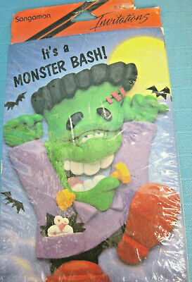 Halloween Monster Bash Party Invitations Black Green Purple 8 Cards & Envelopes