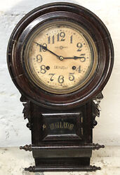 RARE Antique Early 1900s Seikosha Japan Black Forest Regulator Wall Clock 23x13""
