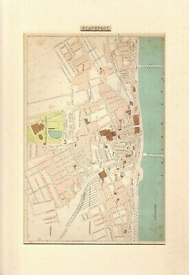 FULL COLOUR ANTIQUE  STREET MAP OF BLACKPOOL - MOUNTED & READY FOR FRAMING
