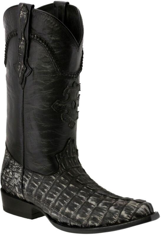 Mens, Gray, Genuine, Crocodile, Tail, Skin, Leather, Cowboy, Boots, Snip, Toe