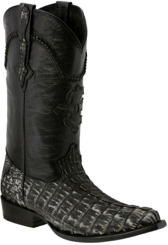Mens, Gray, All, Real, Crocodile, Tail, Exotic, Skin, Leather, Cowboy, Boots, Pointed