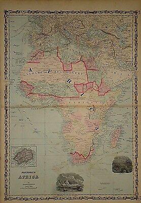 Vintage 1862 AFRICA - ARABIA MAP Old Antique Original Atlas Map 041418