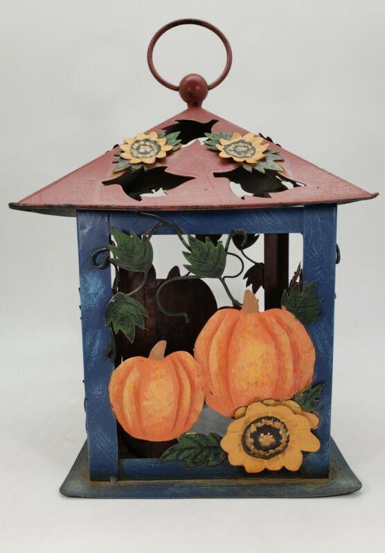 Kathy Hatch Metal Halloween Lantern Candle Holder Pumpkins and Flowers