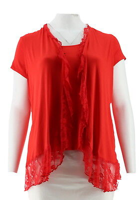 Antthony Vibrant Caribbean Knit Tee Vest Lace Inserts Strawberry 1X # 548-785
