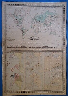 Vintage 1873 PHYSICAL MAP of the WORLD Old Antique Original Johnson's Atlas Map