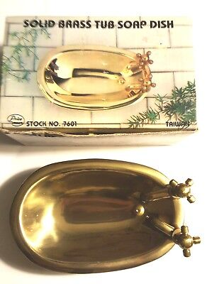 VINTAGE SOLID BRASS TUB SOAP DISH NEW IN BOX