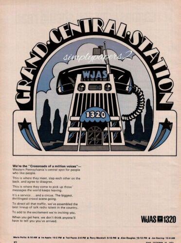 1971 WJAS Radio 1320 Grand Central Station Phone Receiver Vintage Art Print Ad