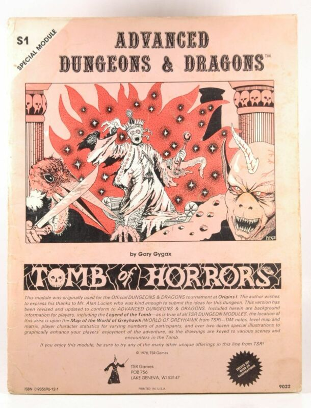 AD&D S1 Monochrome Tomb of Horrors 3rd Print Gary Gygax  TSR