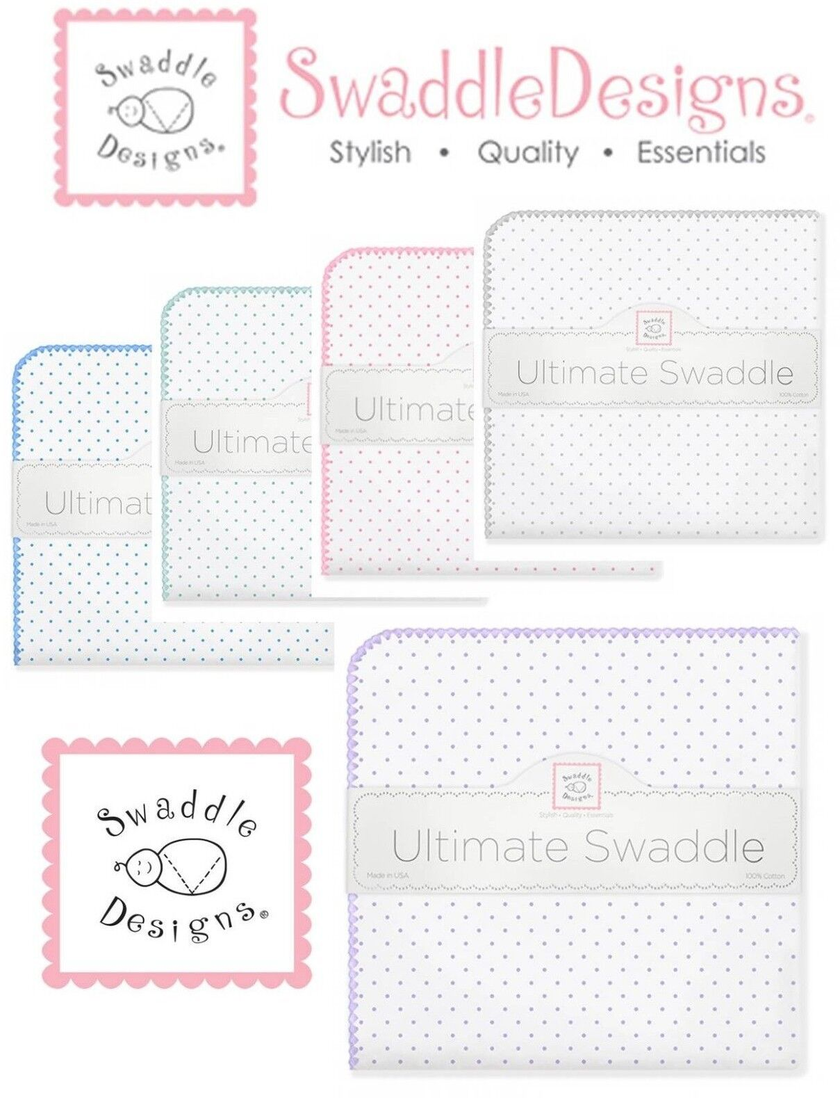 SwaddleDesigns Ultimate Swaddle Blanket CLASSIC POLKA DOTS ~